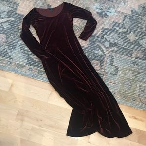 Bordeaux velvet maxi dress